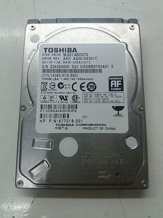 """Disco duro TOSHIBA 750gb 2.5"""" en perfecto estado"""