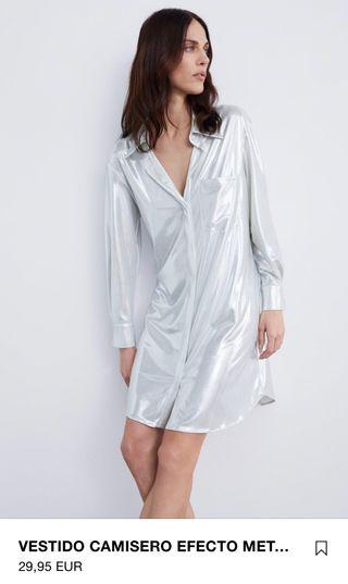 € Segunda En De Efecto Camisero Zara Metalizado Por Mano Vestido 15 y80OmwvNnP