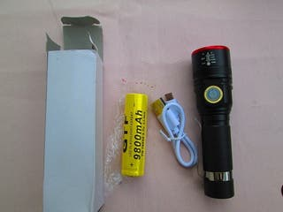 Linterna USB recargable XML-T6, 3 Zoom con 1 pilla
