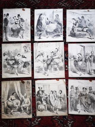 Lote 9 láminas antiguas