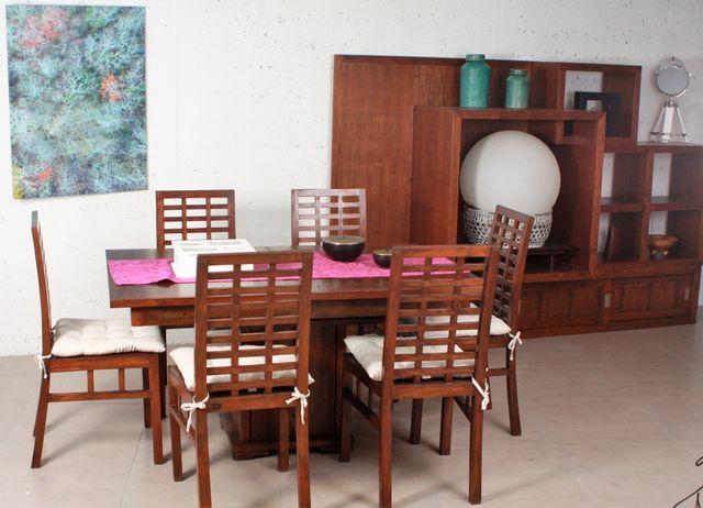 Mesa colonial comedor salón y 6 sillas teka de segunda mano ...