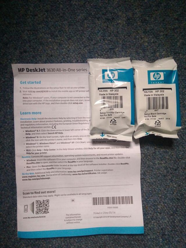 HP Deskjet 3630 + 2 NEW ink cartridges