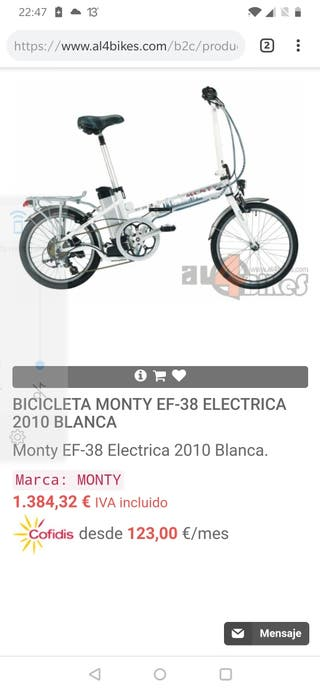 bicicleta eléctrica plegable monty