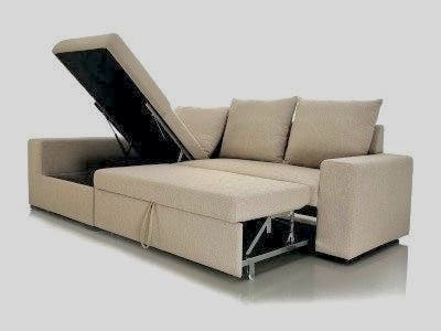 Sofá cama con chaise longue beige, con arcon de segunda ...
