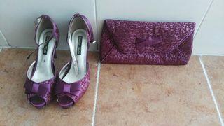 conjunto zapatos y bolso boda
