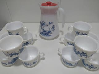 Juego cafe arcopal vintage flores azules