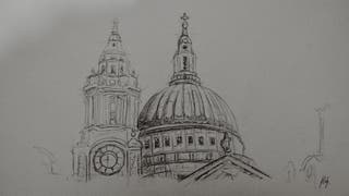 St Pauls Cathedral pencil drawing