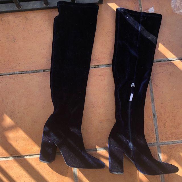 calidad primero apariencia estética sitio de buena reputación Botas altas rodilla Zara nuevas 37 terciopelo azul de ...