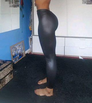 Ladies Black Spandex Stretch Leggings Size 8