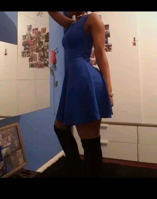 Womens Blue Sleeveless Skater Mini Dress Size 6