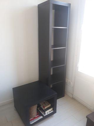 Mesa auxiliar y librería Ikea color negro