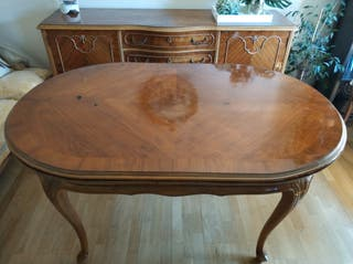 Mesa de comedor de madera isabelina francesa