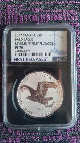Moneda plata NGC PF70 Canada BALD EAGLE 201