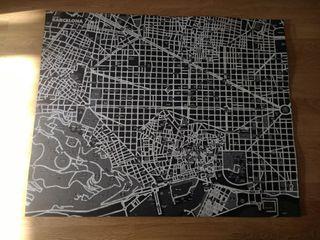 Mapa de Barcelona mural fieltro para pins