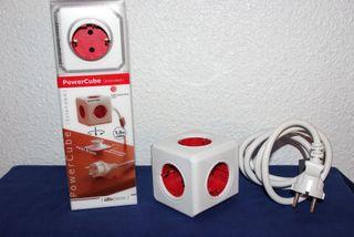 Regleta NUEVA PowerCube Extended Rojo 5 tomas.