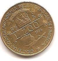 ITALIA,200 LIRAS 1996,CENT GUARDIA DE FINANZAS.
