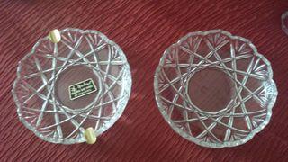 cenicero y bandeja cristal tallado, elegantes