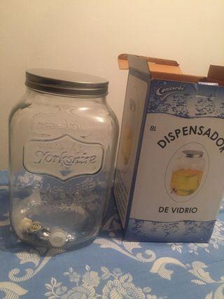 Dispensador de bebidas de vidrio con grifo, 8L.