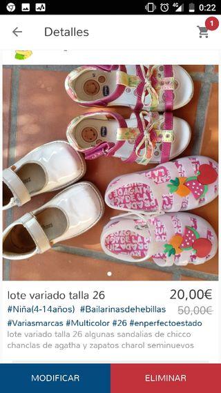 lote zapatos talla 26