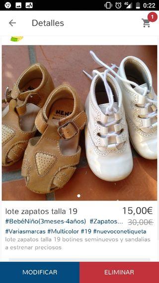 lote zapatos talla 19