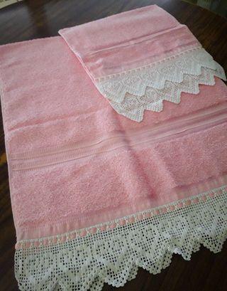 Juego de toallas antiguas bordadas ¡NUEVO!
