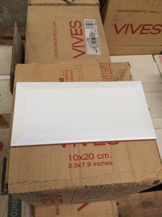Azulejo blanco brillo 10x20 bisel