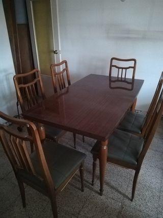 Mesa extensible de comedor con 6 sillas
