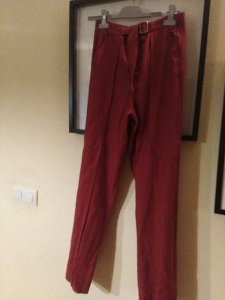 pantalon zara color teja