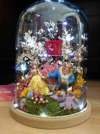 cúpula cristal bella y bestia rosa eterna 30x22,5c