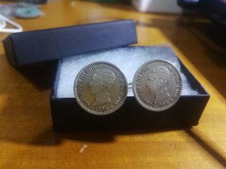 Gemelos autenticas monedas plata media peseta