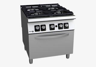 Cocina a gas 4 fuegos y horno (fondo 900)