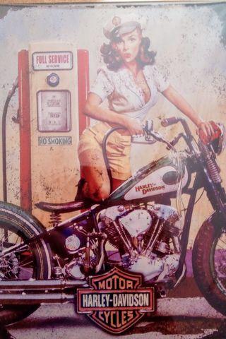 Cartel publicitario Harley Davidson vintage