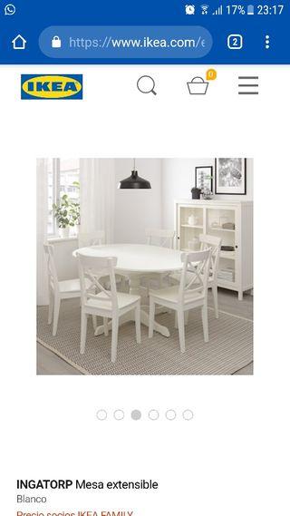 € Ikea Mesa Mano Segunda Extensible Y Por 4 De 275 Redonda Sillas En oBerWxdC