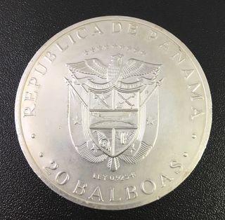 Moneda plata 20 balboas