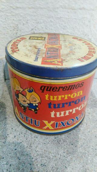 lata de chapa antigua de turrone antiu xixona