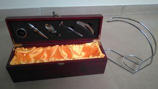 caja vino+accesorios+botellero inox