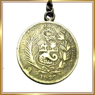 llavero Moneda de 1/2 sol peruano de 1927