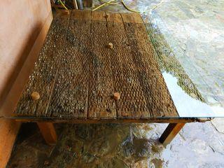 mesa trillo con cristal