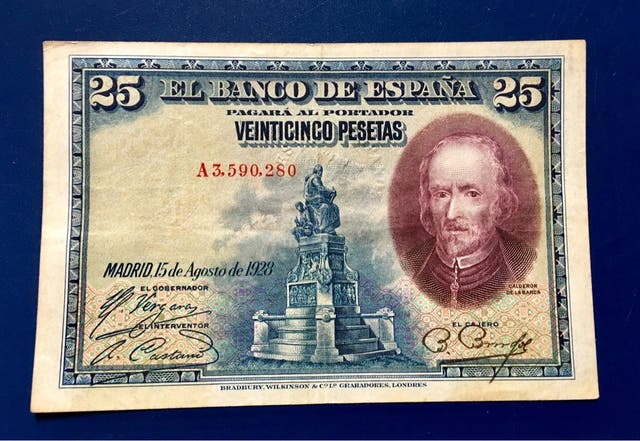 Billete 25 Pesetas 1928 SELLÓ EN SECO