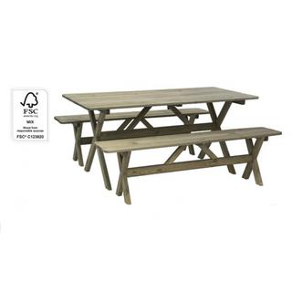Mesa con 2 bancos de madera tropical FSC