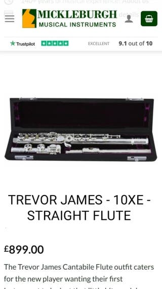 TREVOR JAMES - 10XE - STRAIGHT FLUTE (With every)