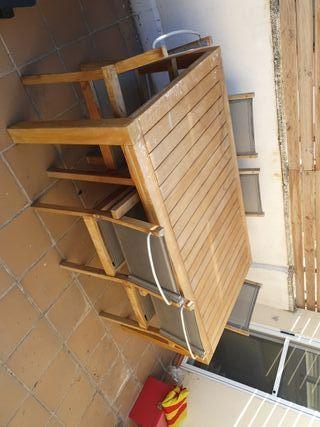 mesa jardin con 6 sillas de teca
