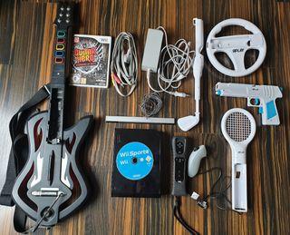 Wii Black Edition 2 juegos la guitarra y accesorio