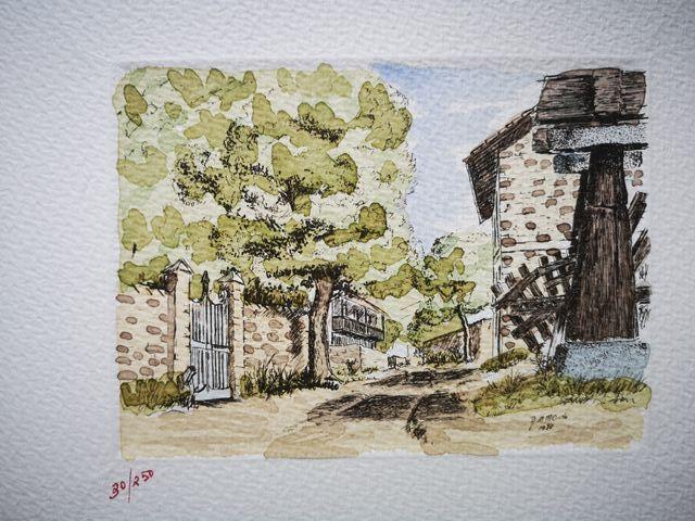 Grabados hórreo, aldea, paisanos de Asturias