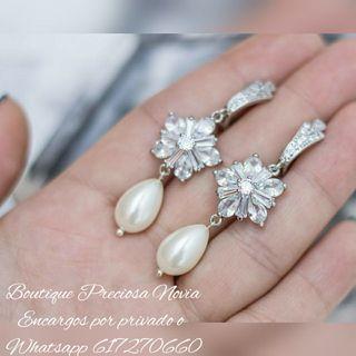 Preciosos pendientes joya de lujo para novia