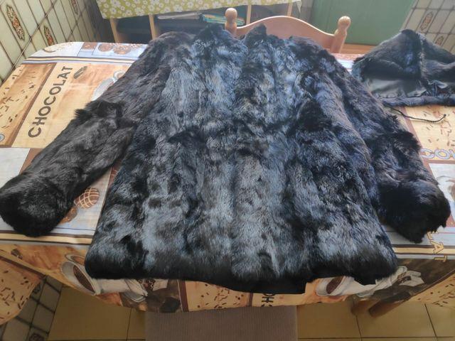 bajo precio bc10c 516f5 Chaquetón de piel de conejo con estola y capucha de segunda ...