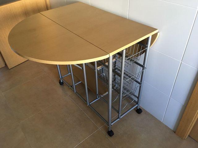 Mesa cocina extensible con carro verdulero de segunda mano por 75 ...