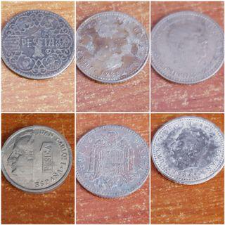 6 Monedas de una peseta (entre 1944-1999)
