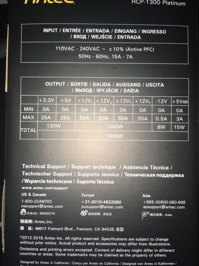 FUENTE DE ALIMENTACIÓN ANTEC 1300w