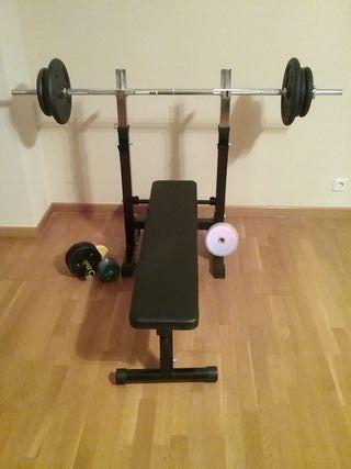 Banco de pesas y abdominales plegable